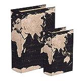 Deco Line Set 2 Schachteln in Buchform Weltkarte, 2 Grössen bis 23 cm