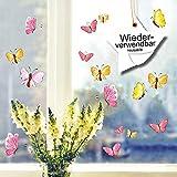 Wandtattoo-Loft Fensterbilder Frühling Schmetterlinge Pastell 20 Stück im Set Wiederverwendbare...