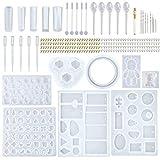 Baslinze DIY Kristall Epoxy Kleber Kit Armreif Anhänger Schmuck Silikonform 229pcs