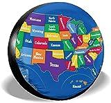 my cat US-Karten mit Staaten für Kinder Sonnenschutz Universal Reserverad Autoreifenabdeckung für...