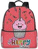 Schultasche doppelte Schwarze Rucksäcke, rosa Erdbeer Cupcake mit Kerze süßes Gesicht Konfetti...