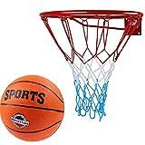 Kimet Basketballkorb mit Ball Outdoor Kinder | Basketball Korb fürs Zimmer | Ring mit Netz | Set...