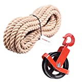 Seilwerk STANKE 125mm Umlenkrolle mit Haken + Juteseil 16mm 15 Meter Seilwinde Seilzug Seilrolle...