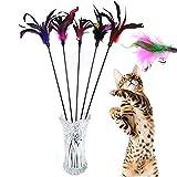 Demarkt 5X Katzenangel Federwedel Katzenspielzeug mit Glocke Katze Spielzeug mit Federn zufällige...