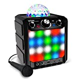 Ion Party Rocker Express - Karaoke Anlage Musikbox Bluetooth Lautsprecher mit Discokugel, LED...