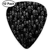 Black Skull Head Plektren Dünn, 12er-Pack Bunte Plektren für Kinder