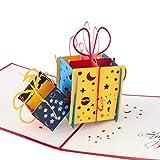 3D Geburtstagskarte'Geschenk mit Schleife', Karte zum Geburtstag, Geburtstagsgeschenk für Frauen,...