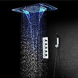 XLYAN LED-duschfunktion Verdeckte Dusche Handy Bluetooth-Steuerung In-Wall-top-Spray-dusche 64 Arten...