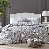 Hansleep Bettwäsche135x200 cm Grau 2 Teilig Pflaumenblüte Muster Bettbezug Set Mikrofaser Weiche & Atmungsaktive Bettbezüge mit Reißverschluss und 1 mal 50x75 cm Kissenbezug