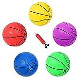 HAPPYMATY 5 Stück Weiche Bastekbälle Set 8 Zoll Basketbälle für Kinder ab 1 Wasserball mit Pumpe...