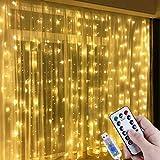 Lichtervorhang Aussen 3x3m,300 LEDs USB Vorhang lichterkette, Weihnachtsdeko Fenster Beleuchtet 8 Modi mit Fernbedienung Innen und Außen Vorhang Lichter für Zimmer Schlafzimmer Hochzeit Deko, Warmweiß
