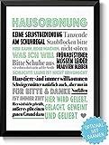 HAUSORDNUNG - Bild mit humorvollen Hausregeln - Rahmen optional -mit Personalisierung - Geschenkidee...