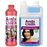 AmbiClean Entkalker 750 ml und Milchschaumreiniger 1 L für Kaffeevollautomaten & Kaffeemaschinen