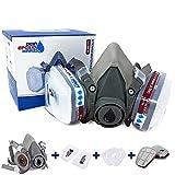 Longfair Atemschutzmaske   wiederverwendbar   Halbmaske mit Filterkartusche für Epoxidharz-, Säge-, Schleif oder Renovierungsarbeiten