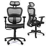 Komene Ergonomischer Bürostuhl, Bürostuhl mit Kopfstütze, Drehbarer Schreibtischstuhl mit Atmungsaktiver Netzrückseite, Verstellbare Kopfstütze, Rückenlehne und 3D Armlehne, 360 ° Rollen, Vatertag