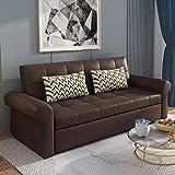 N/Z Home Equipment Klappsofa Schlafsofa Premium Leder Multifunktionales Loveseat Sofa Cabrio Bett mit Kissen und Kissen Latexfüllung Ausziehbare Futon Couch Möbel für Wohnung Wohnzimmer gelb 1.6M
