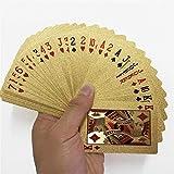 kengbi Goldene Spielkarten Deck of Goldfolie Poker Set Magic Cards 24 Karat Goldfolie Poker Durable...