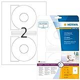 HERMA 5079 CD-/DVD-Etiketten inkl. Positionierhilfe DIN A4 blickdicht (Ø 116 mm, 25 Blatt, Papier,...