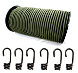 10mm Expanderseil 10m Gummiseil + 10 Spiralhaken Gummileine Planenseil Seil Plane in Olivgrün
