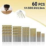 Spiralbohrer MOHOO 60pcs Bohrer 1/1,5/2/2,5/3/3.5 mm Metallbohrer HSS Stahlbohrer Satz für Holz...