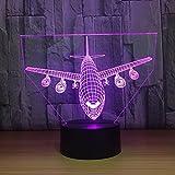 suhang 3D Airplane Illusion Night Light 7 Veränderbare Farben Mit Remote-Led-Schreibtischlampe...