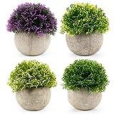 Tebery 4er-Set Künstliche Grün Gras Bonsai Kunstpflanze mit grauen Topf, für...