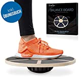 SportyAnis Premium Balance-Board Holz inkl. Übungsbuch und optional Unterlegmatte, Durchmesser 40...