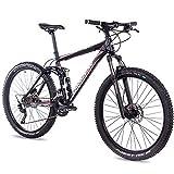 CHRISSON 27,5 Zoll Mountainbike Fully - Hitter FSF schwarz rot - Vollfederung Mountain Bike mit 30...