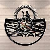 jiushixw 3D Kayak Timeboat Kajak Suspension Seil stumm Silhouette Quarz Schriftart Rekord Rafting...