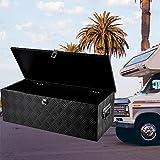 Werkzeugkasten Werkzeugbox klein Werkzeugaufbewahrung Werkzeugtruhen Deichselbox leer mini Werkzeugtaschen mit Metallschließen Organizer für Kleinteile und Zubehör-Schwarz 56x33x25,4 cm.