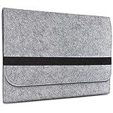 eFabrik Filz Sleeve Hülle Schutz Tasche für Apple iPad Air 2 (9,7 Zoll), Farbe:Grau