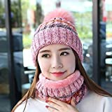 H.ZHOU Hat Herbst und Winter mit einem Bib-Hut-Mädchen Warme Wollmütze Süße Earmuffs Schal Plus...