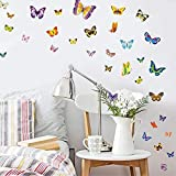 WandSticker4U®- 100 Bunte Schmetterlinge zum Kleben I Wandtattoo Butterfly Dekoration Frühling...