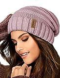 FURTALK Gestrickte Winter Slouchy Beanie Mütze Oversized Unisex Crochet Cable Ski Cap Baggy Slouch Hüte für Frauen Männer, Rosa, Einheitsgröße