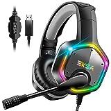 EKSA E1000 Gaming Headset für PS4 PC, Over-Ear Gaming Kopfhörer mit 7,1 Surround Sound 50MM...