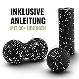 Mini Faszienrolle Set - Miniroll, Duoball 8 cm und Ball 8 cm in Schwarz