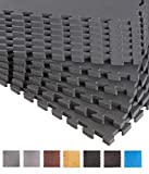 BodenMax CRS804913-3030-18 Puzzle Fußmatte Schaumstoff Eva Schutzmatte Muster Schwarz 30x30x1 cm...