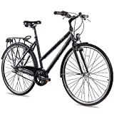 CHRISSON 28 Zoll Citybike Damen - City One schwarz 50 cm - Damenfahrrad mit 3 Gang Shimano Nexus...