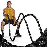 Battle Rope Trainingsseil,Sportseil Schwungseil für Fitness Kraft Training (12m/Schwarz+Gold)