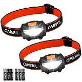 Stirnlampe Kopflampe OMERIL Stirnlampe LED [2 Stück] Superhell Wasserdicht Leichtgewichts Mini...