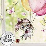 ilka parey wandtattoo-welt Fensterbild Hase Häschen mit Ballons Schmetterlinge wiederverwendbar...