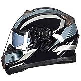 IAMZHL NEU Klappbarer Motorradhelm Doppellinsen-Integralhelm Casco Racing Capacete-a34-XL