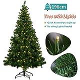 OUSFOT Weihnachtsbaum Künstlich 198cm mit 320er LED Lichterkette 8 Beleuchtungsmodi Schnellaufbau...