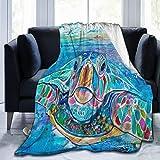 Olverz Meeresschildkröten-Decke, flauschig, warm, Couch-Decke, alle Jahreszeiten, verblasst nicht, Sofadecke, bequeme Plüschdecke für Auto, Bett, Zuhause, Camping, 152,4 cm x 50