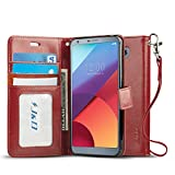 J&D Kompatibel für LG G6 Leder Hülle, [Handytasche mit Standfuß] [Slim Fit] Robust Stoßfest PU...
