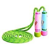 KONVINIT Springseil Kinder Damen Springseil Verstellbare mit Bunten Holzgriff und Baumwolle Seil...