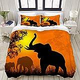 Miwaimao Bedding Bettwäsche-Set,Wilde Elefanten bei Sonnenuntergang auf schöner Landschaft,Mikrofaser Bettbezug und Kissenbezug - (135 x 200 cm)