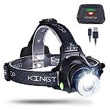 KINGTOP LED Stirnlampe Wasserdicht USB Wiederaufladbare LED Kopflampe, 3 Lichtmodi 600lm, Perfekt...