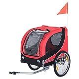 Pawhut Fahrradanhänger Hundeanhänger Hunde Fahrrad Tier Anhänger (Rot-Schwarz)