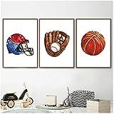 Basketball Baseballhandschuh Wandkunst Leinwand Malerei Poster und Drucke Wandbilder für Boy Room...